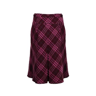 front pleats detail check skirt